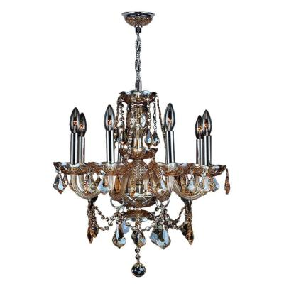 Worldwide Lighting Provence Collection 8-Light Chrome with Amber Crystal Chandelier