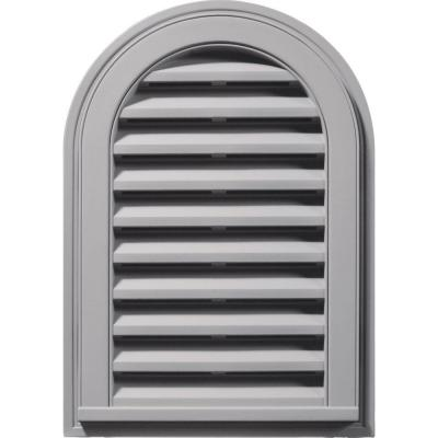 14 in. x 22 in. Round Top Gable Vent in Gray