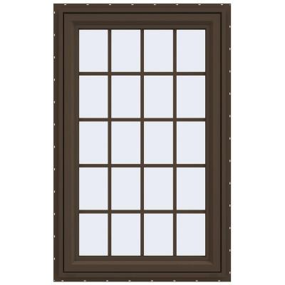 23.5 in. x 35.5 in. V-4500 Series Left-Hand Casement Vinyl Window with Grids - Brown Product Photo
