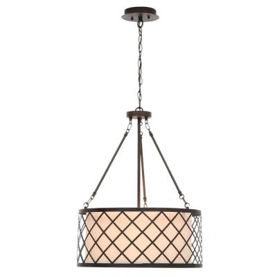 Hayes 3-Light Oil-Rubbed Bronze Metal Overlay Drum Pendant