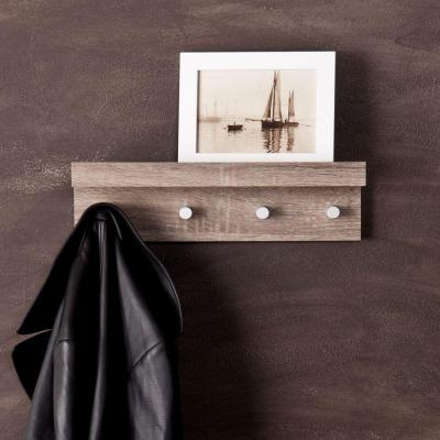Clytie 4-Hooks Entryway Shelf in Dark Oak