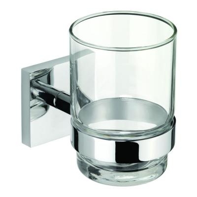Croydex Chester Flexi-Fix Glass Tumbler and Holder in Chrome