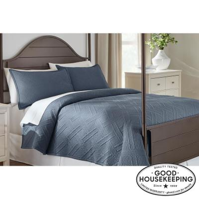 Binghamton 3-Piece Steel Blue Solid Cotton Quilt Set
