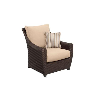 Highland Patio Lounge Chair with Harvest Cushions and Terrace Lane Throw