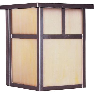 Illumine 1-Light Outdoor Burnished Wall Lantern with Honey Glass Shade