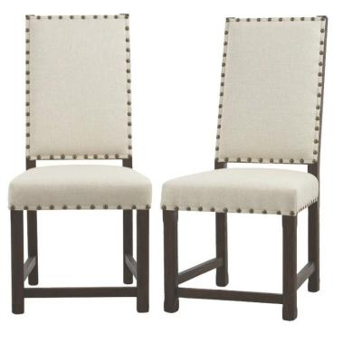 Andrew Solid Wood Natural Textured Dining Chair in Antique Walnut (Set