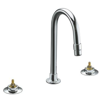 Triton 12 in. Widespread 2-Handle Mid-Arc Commercial Bathroom Faucet in Polished
