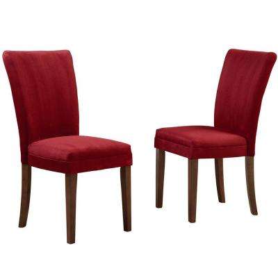 Home Decorators Collection 18 in. H Raspberry Microfiber Side Chair (Set of 2)-DISCONTINUED