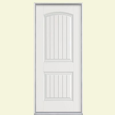 Masonite 32 in. x 80 in. Cheyenne 2-Panel Primed Smooth Fiberglass Prehung Front Door with Brickmold