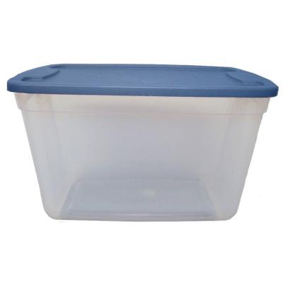 null 20-Gal. Storage Tote in Clear Base Blue Lid