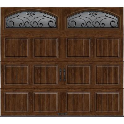 Clopay Gallery Collection 8 ft.x7 ft. 18.4 R-Value Intellicore Insulated Ultra-Grain Walnut Garage Door with Decorative Window