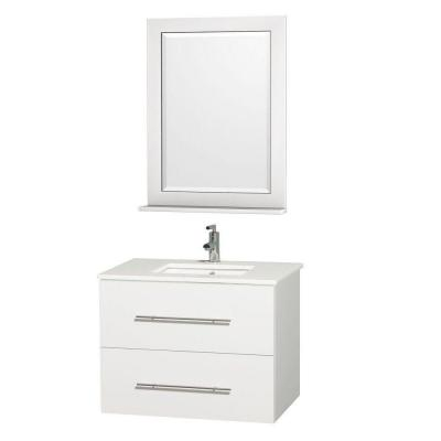 Wyndham Collection Centra 30 in. Vanity in White with Man-Made Stone Vanity Top in White and Square Porcelain Undermounted Sink