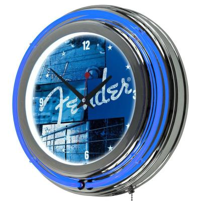 Trademark 14 in. Fender Stacked Chromed Double Ring Neon Wall Clock
