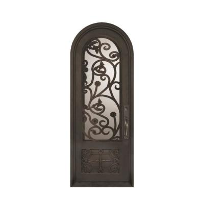 74 in. x 97.5 in. Fero Fiore 3/4 Lite Painted Oil Rubbed Bronze Wrought Iron Prehung Front Door Product Photo