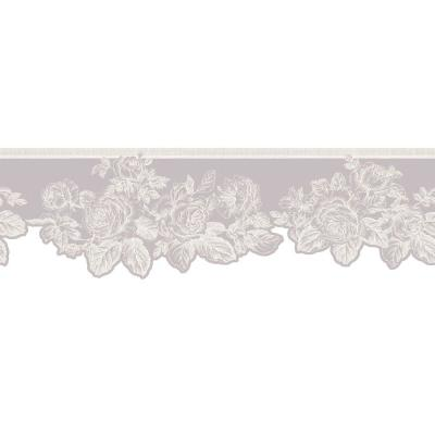 The Wallpaper Company 5.75 in. x 15 ft. Purple Pastel Rose Border