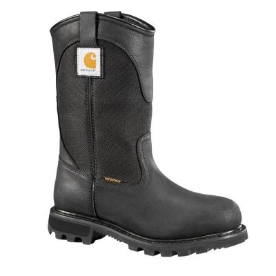 "Women's Traditional 10"" Black Leather/Fabric Waterproof Soft Toe Lug Bottom Work Boot"