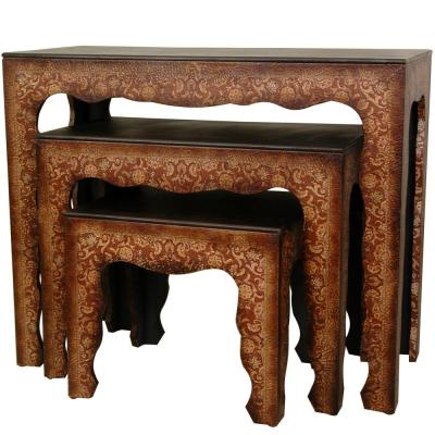 Olde-Worlde Brown 3-Piece Nesting End Table