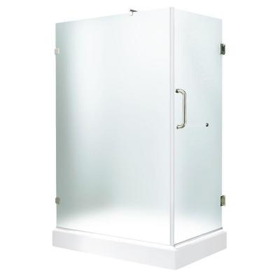 Vigo 36.125 in. x 48.125 in. x 74.25 in. Frameless Shower Enclosure in Brushed Nickel with Matte Glass and Left Base