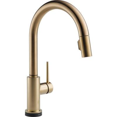 Delta Trinsic Single-Handle Pull-Down Sprayer Kitchen Faucet with Touch2O Technology in Champagne Bronze