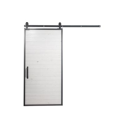 36 in. x 84 in. Mountain Modern White Wood Barn Door with Mountain Modern Sliding Door Hardware Kit Product Photo