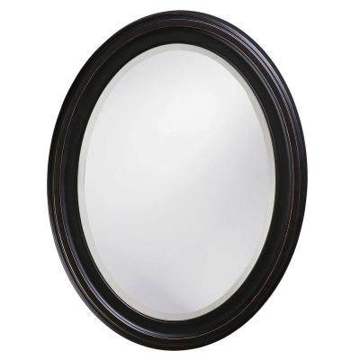 null 25 in. x 33 in. Oil Rubbed Bronze Round Framed Mirror