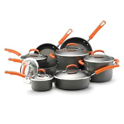 Rachael Ray 14 pc. Nonstick Hard Anodized Cookware Set with Orange Handles