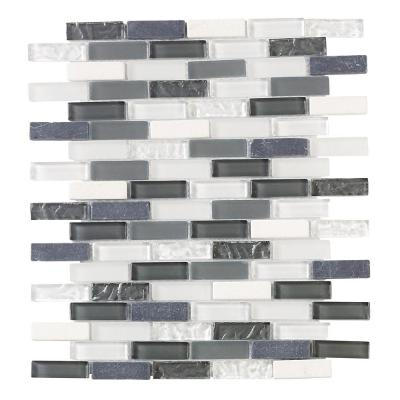 Silver Tradition Mini Brick 9.75 in. x 11.75 in. x 8 mm Glass Mosaic Wall Tile Product Photo