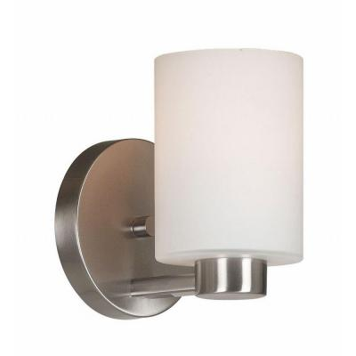 encounters 1 light brushed steel wall sconce 10181bs the home depot. Black Bedroom Furniture Sets. Home Design Ideas