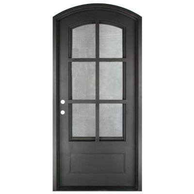 46 in. x 97.5 in. Craftsman Classic 6 Lite Painted Oil Rubbed Bronze Decorative Wrought Iron Prehung Front Door Product Photo