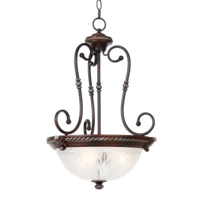 Hampton Bay Bercello Estates 3-Light-Volterra Bronze Bowl Pendant