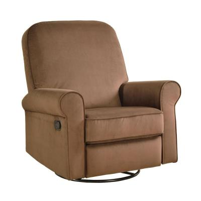 Dylan Polyester 2-Piece Swivel Glide Recliner in Stella Coffee Brown Product Photo
