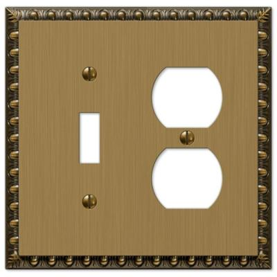 Renaissance 1 Toggle and 1 Duplex Wall Plate - Brushed Brass Product Photo