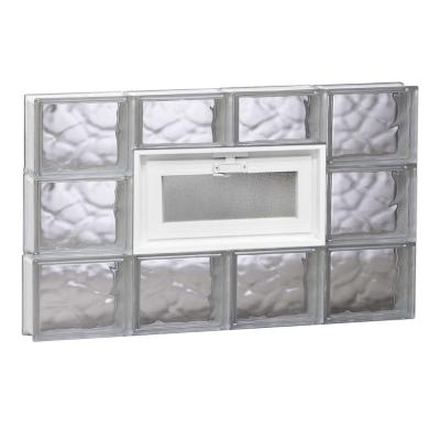 31 in. x 17.2 in. x 3.125 in. Vented Wave Pattern Glass Block Window Product Photo