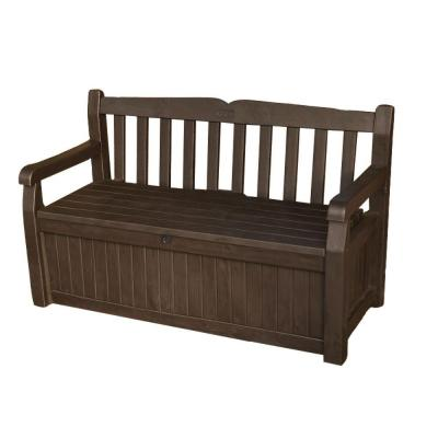 keter 70 gal bench deck box in brown 213126 the home depot