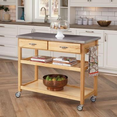 Home Styles Kitchen Cart in Natural Wood with Stainless Top
