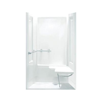 Transfer Shower 39.375 in. x 39.375 in. x 72 in. Shower Kit in White Product Photo