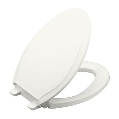 KOHLER Rutledge Elongated Quiet-Close Closed Front Toilet Seat with Grip-Tight Bumpers in White