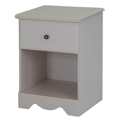 Country Poetry 24 in. H x 18 in. W 1-Drawer Nightstand in White Wash Product Photo