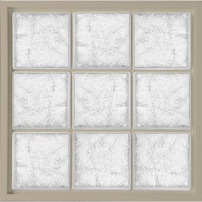 31.5 in. x 31.5 in. Glass Block Fixed Vinyl Windows Ice Pattern Glass - Tan Product Photo
