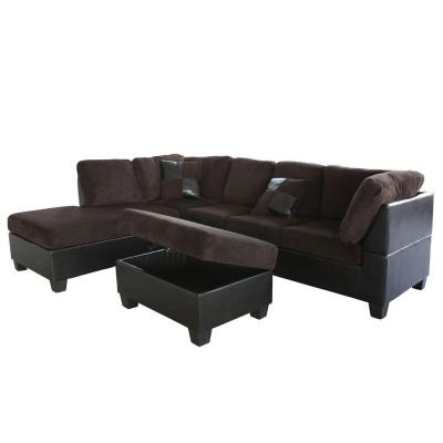Venetian worldwide taylor left sectional sofa and ottoman for Taylor sectional sofa and ottoman dark brown