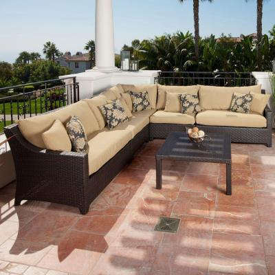 Deco 6-Piece Patio Sectional Seating Set with Delano Beige Cushions