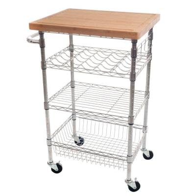 24.75 in. W Wine Dining Cart with Butcher Block Bamboo Top