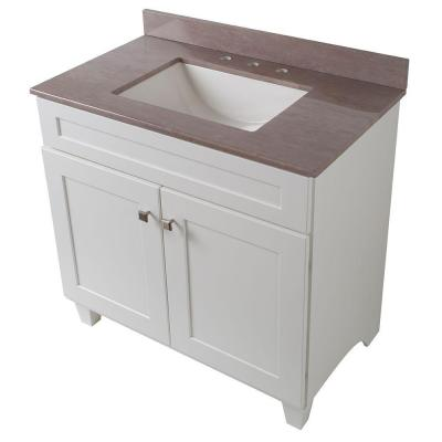 Creeley 37 in. Vanity in Classic White with Stone Effects Vanity
