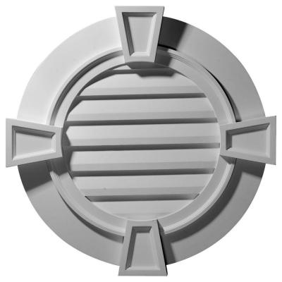 2-1/4 in. x 35-5/8 in. x 35-1/8 in. Decorative Round Gable Vent with Keystones Product Photo