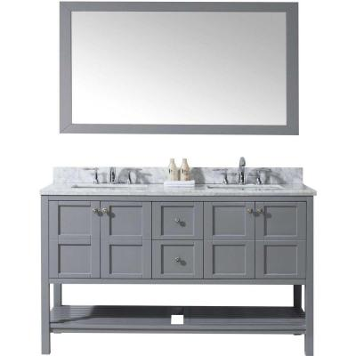 Winterfell 60 in. W x 22 in. D x 35.99 in. H Grey Vanity With Marble Vanity Top With White Square Basin Product Photo