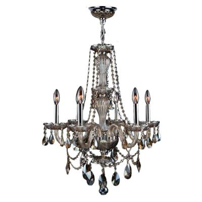 Provence Collection 6-Light Chrome Chandelier with Golden Teak Crystal