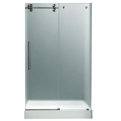Vigo 48 in. x 80 in. Frameless Bypass Shower Door in Stainless Steel with Frosted Glass, Left White Base and Center Drain