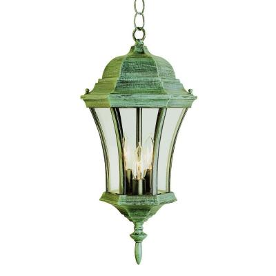 Bel Air Lighting Cabernet Collection 3-Light Hanging Outdoor Swedish Iron Lantern with Clear Curved Shade