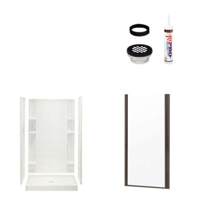 STERLING Ensemble Tile 34 in. x 42 in. x 75-3/4 in. Shower Kit with Shower Door in White/Oil Rubbed Bronze-DISCONTINUED