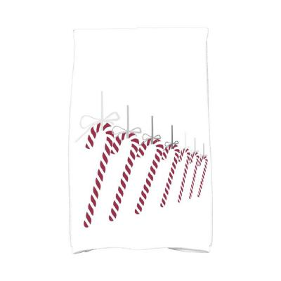 16 in. x 25 in. Candy Canes Holiday Geometric Print Kitchen Towel